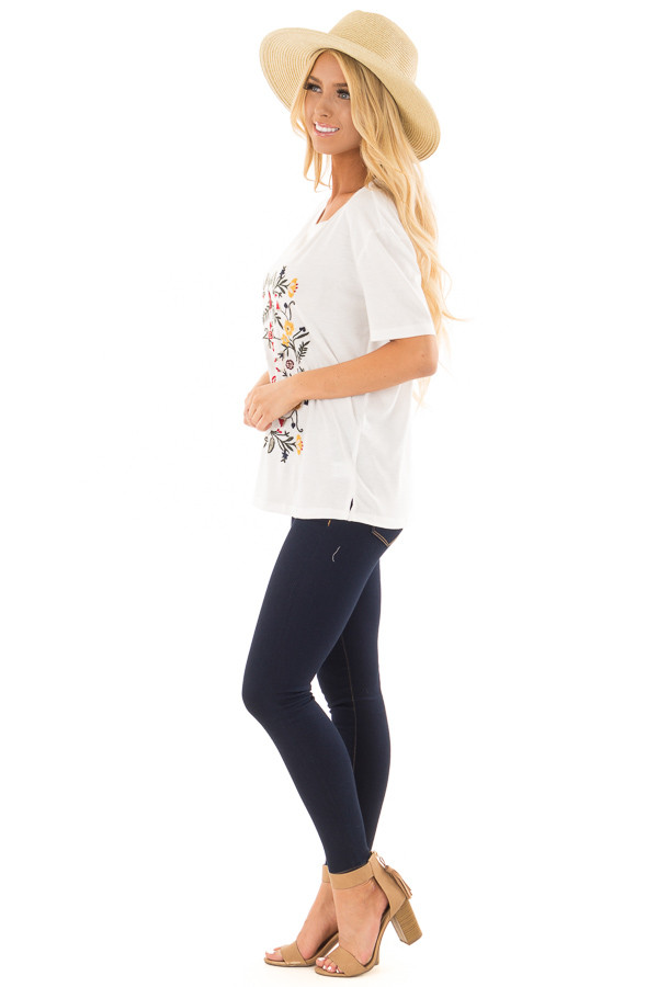 White Soft Short Sleeve Top with Floral Embroidery side full body