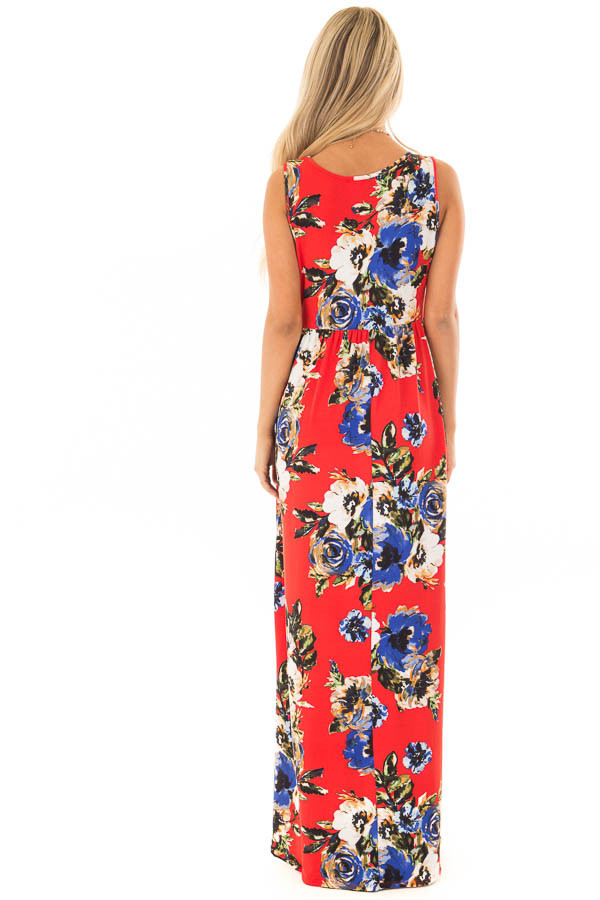 Cherry Red Floral Print Maxi Dress with Pockets back full body