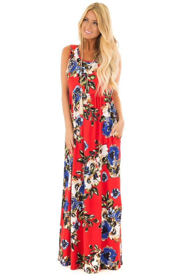 Cherry Red Floral Print Maxi Dress with Pockets front full body