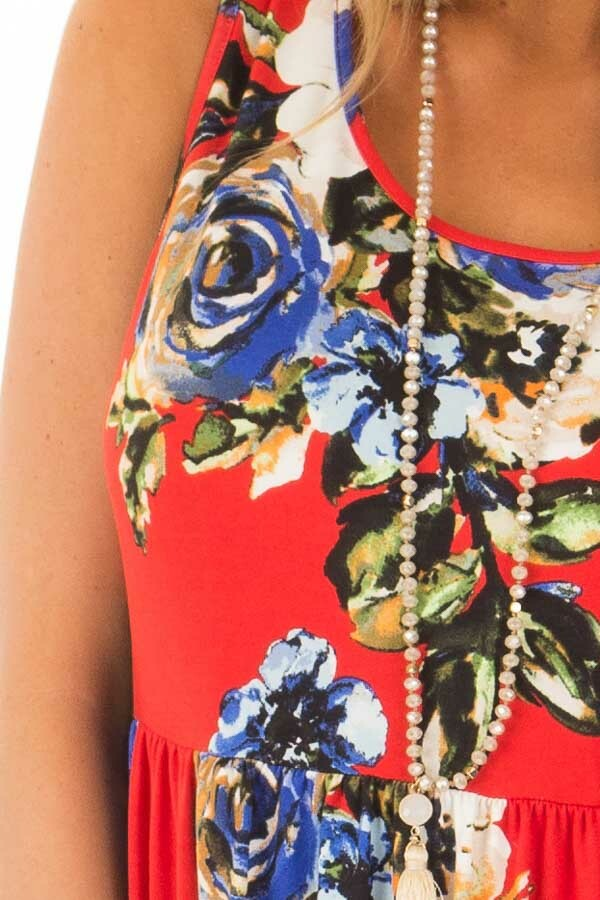 Cherry Red Floral Print Maxi Dress with Pockets detail