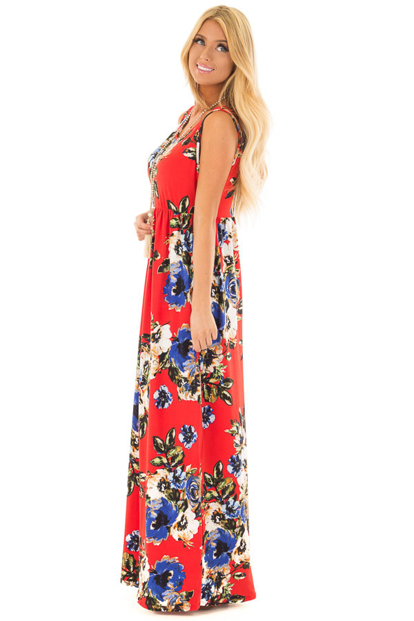 Cherry Red Floral Print Maxi Dress with Pockets side full body