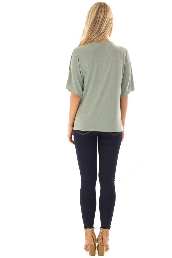 Olive Short Sleeve Soft Wrap Top with Side Tie back full body