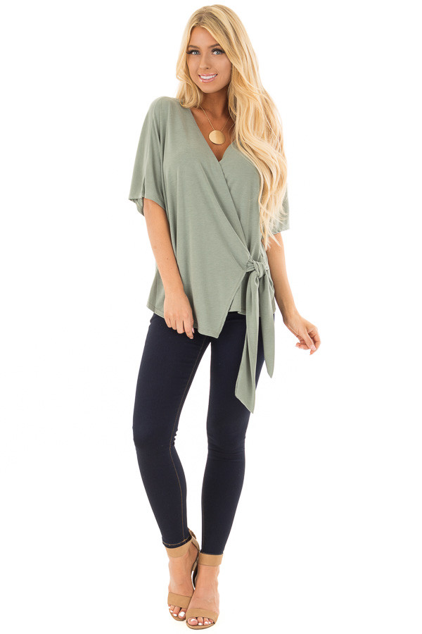 Olive Short Sleeve Soft Wrap Top with Side Tie front full body
