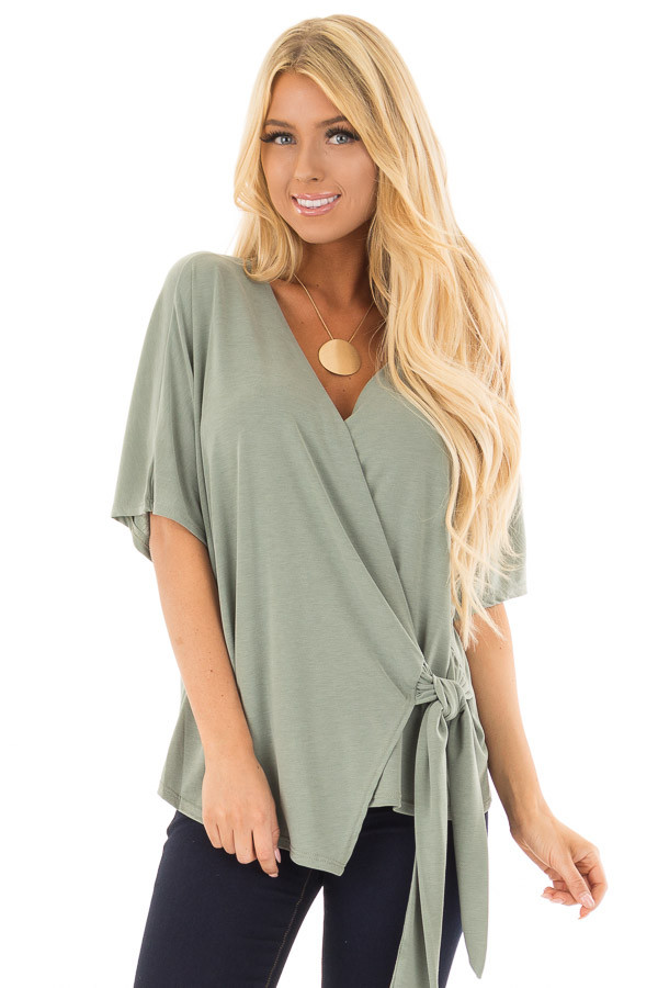 Olive Short Sleeve Soft Wrap Top with Side Tie front close up