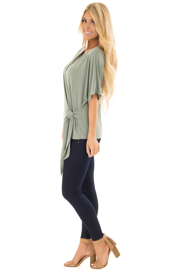Olive Short Sleeve Soft Wrap Top with Side Tie side full body