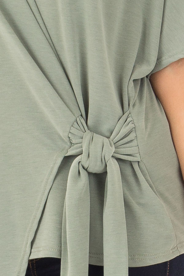 Olive Short Sleeve Soft Wrap Top with Side Tie detail
