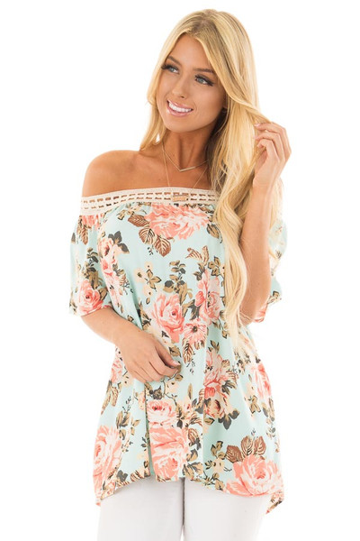 Sky Blue Floral Print Off the Shoulder Top front close up