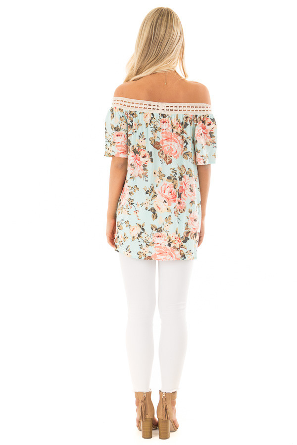 Sky Blue Floral Print Off the Shoulder Top back full body