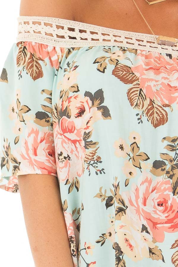 Sky Blue Floral Print Off the Shoulder Top detail