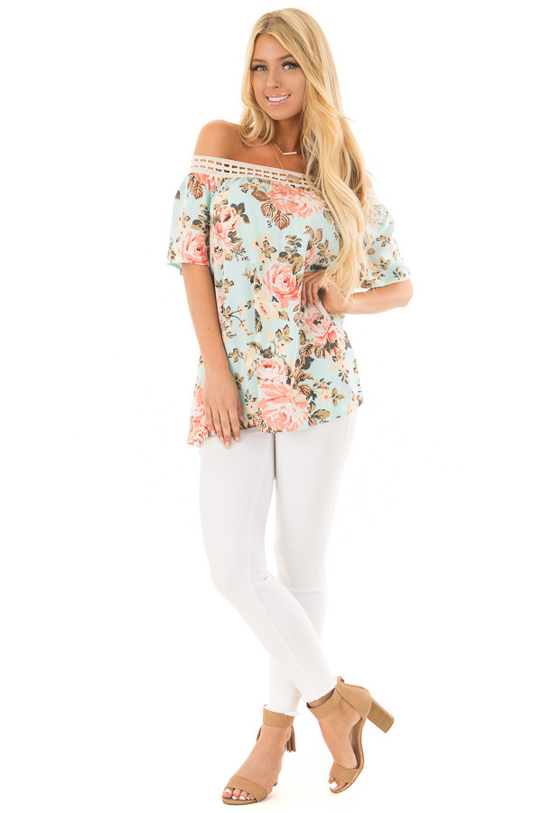 Sky Blue Floral Print Off the Shoulder Top front full body