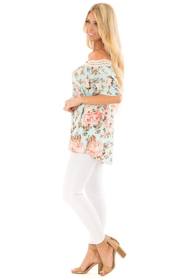 Sky Blue Floral Print Off the Shoulder Top side full body