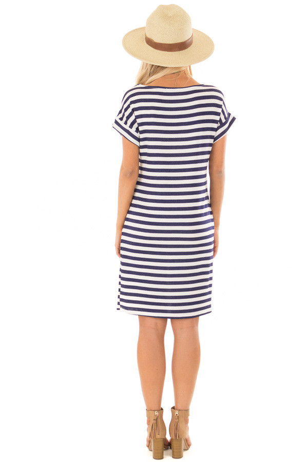 Navy and White Striped Dress with Short Cuffed Sleeves back full body