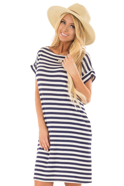 Navy and White Striped Dress with Short Cuffed Sleeves front close up