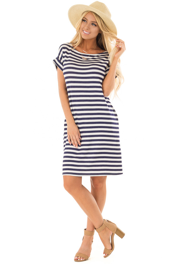 Navy and White Striped Dress with Short Cuffed Sleeves front full body