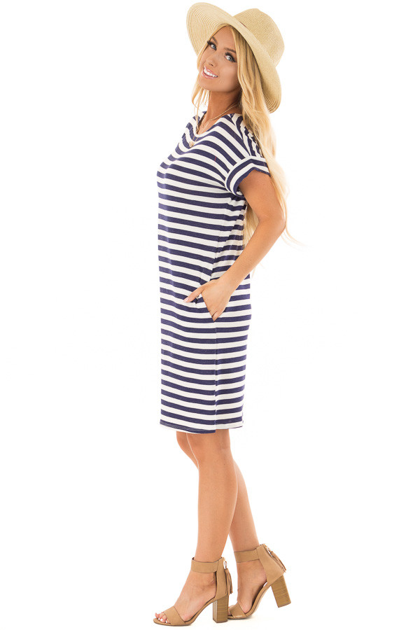 Navy and White Striped Dress with Short Cuffed Sleeves side full body