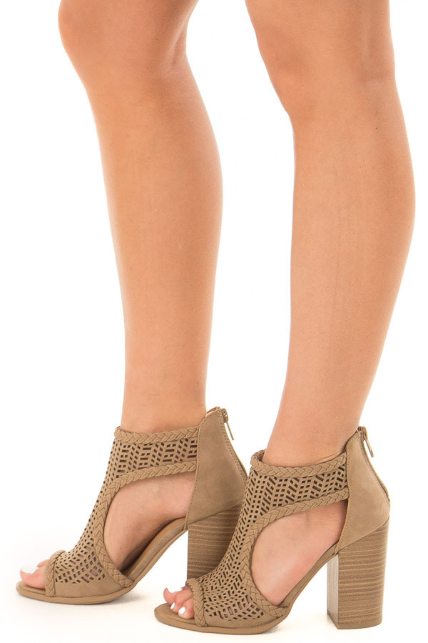 Light Taupe Bootie with Cut Out Details side view