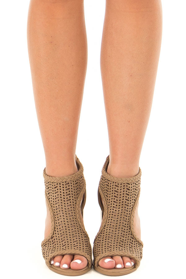 Light Taupe Bootie with Cut Out Details front view