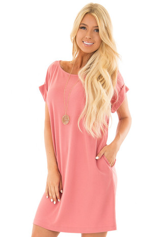Coral Short Sleeve Dress with Side Pockets front close up