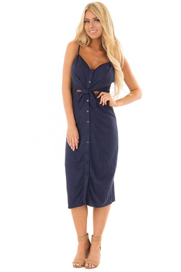 Navy Button Up Dress with Front Tie and Cut Out Detail front full body