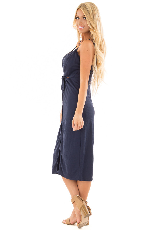 Navy Button Up Dress with Front Tie and Cut Out Detail side full body