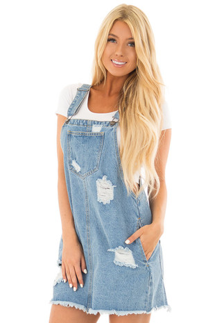 Light Denim Overall Dress with Distressed Details front close up