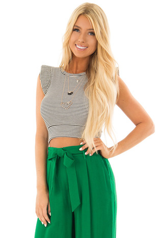Black and Ivory Striped Crop Top with Ruffle Sleeves front close up