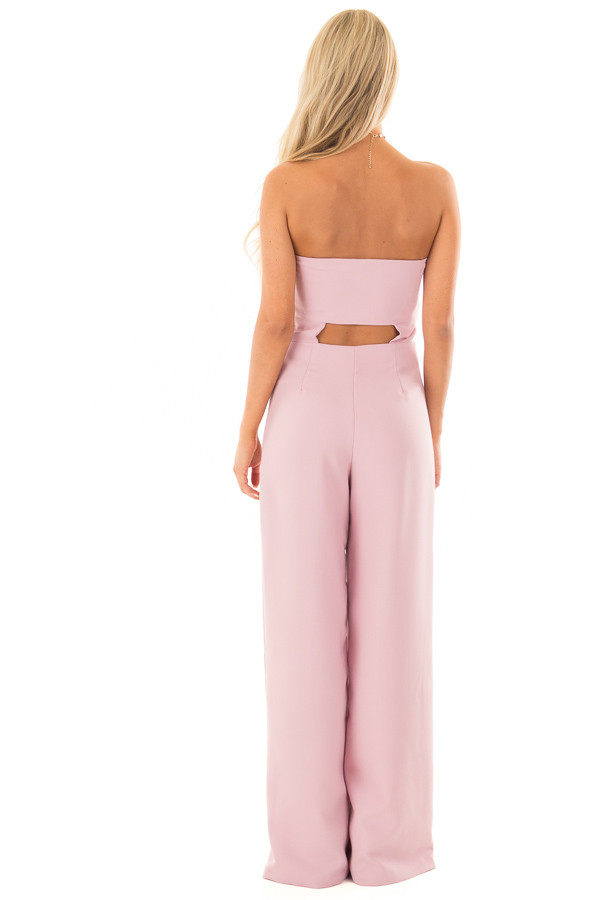 Mauve Bandeau Jumpsuit with Bow Detail back full body