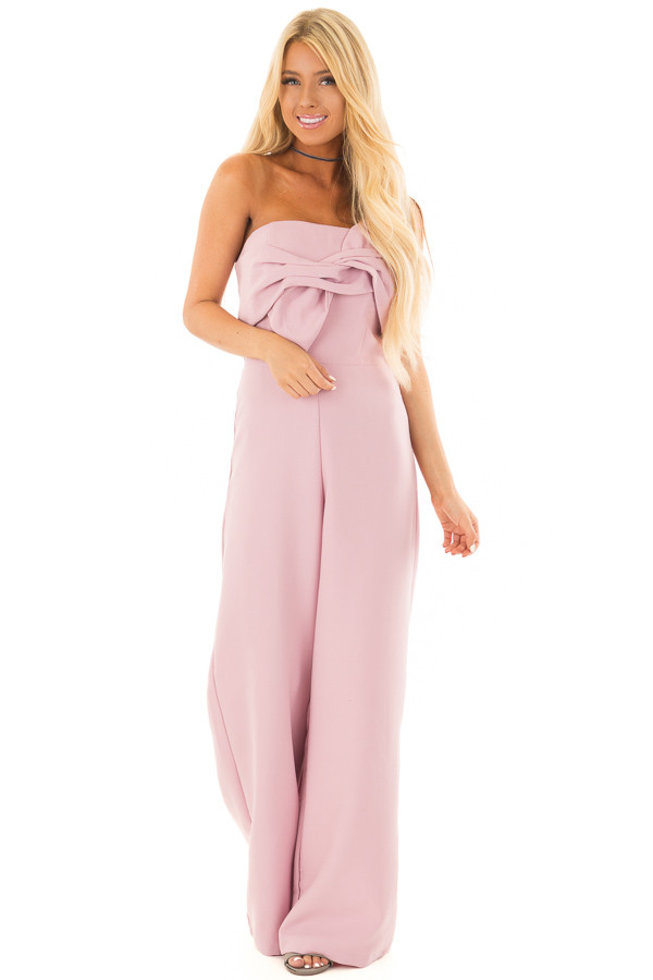 Mauve Bandeau Jumpsuit with Bow Detail front full body