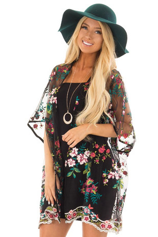 Black Sheer Open Front Kimono with Floral Embroidery Detail front close up