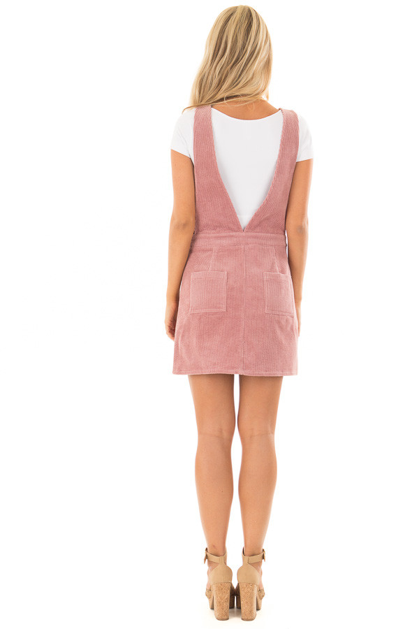 Rose Overall Dress with Back Pockets and Button Detail back full body