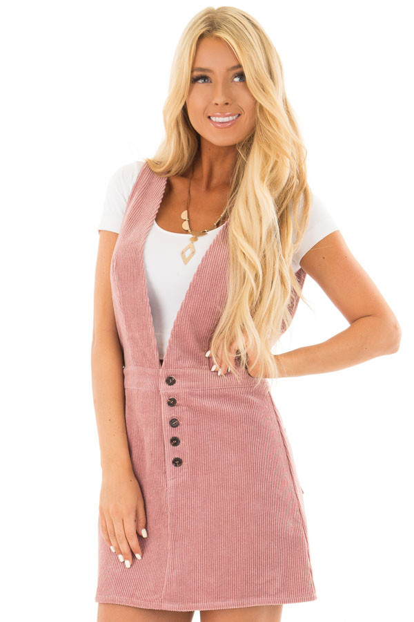 Rose Overall Dress with Back Pockets and Button Detail front close up