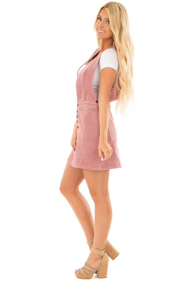 Rose Overall Dress with Back Pockets and Button Detail side full body