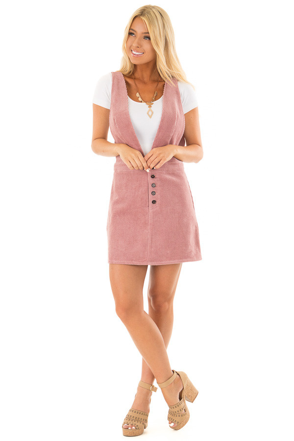 Rose Overall Dress with Back Pockets and Button Detail front full body