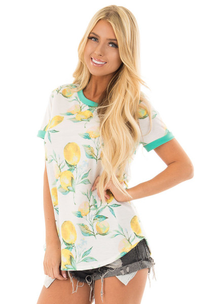 Ivory Short Sleeve Top with Lemon Print Detail front close up