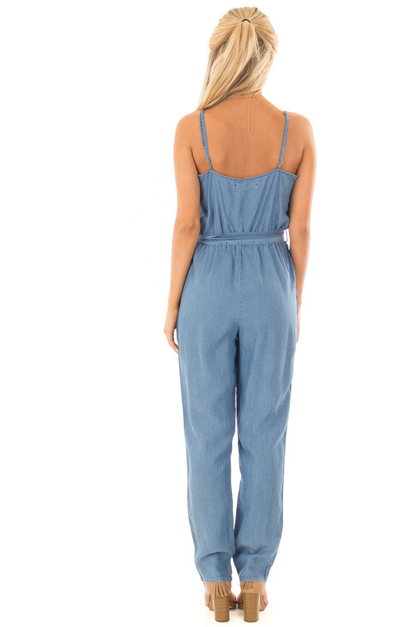 Chambray Sleeveless Jumpsuit with Waist Tie Detail back full body