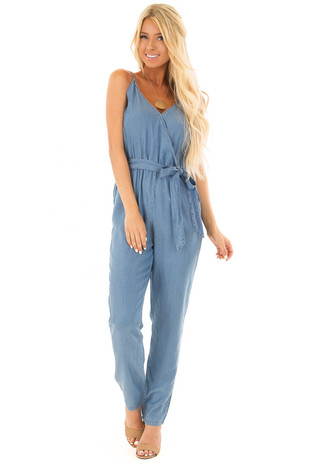 Chambray Sleeveless Jumpsuit with Waist Tie Detail front full body
