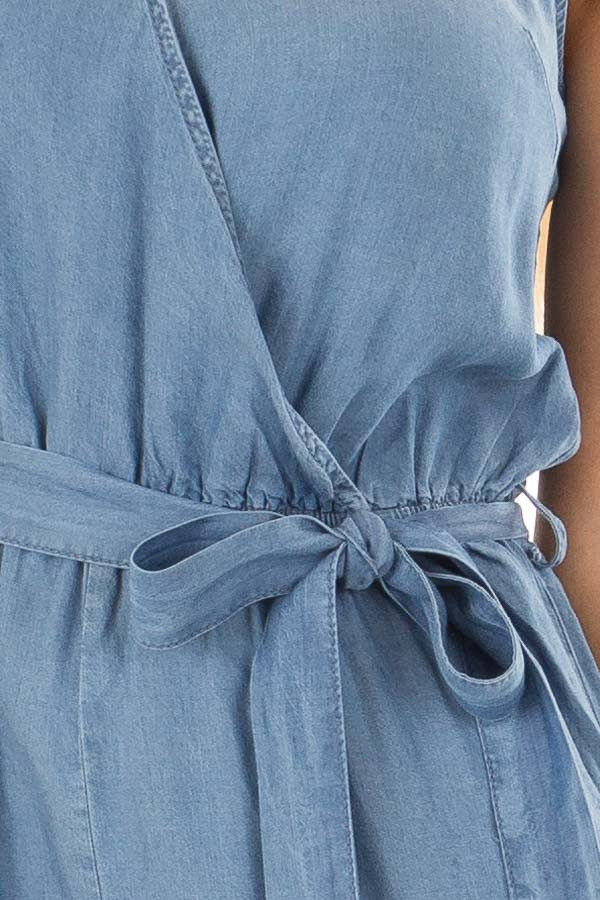 Chambray Sleeveless Jumpsuit with Waist Tie Detail detail