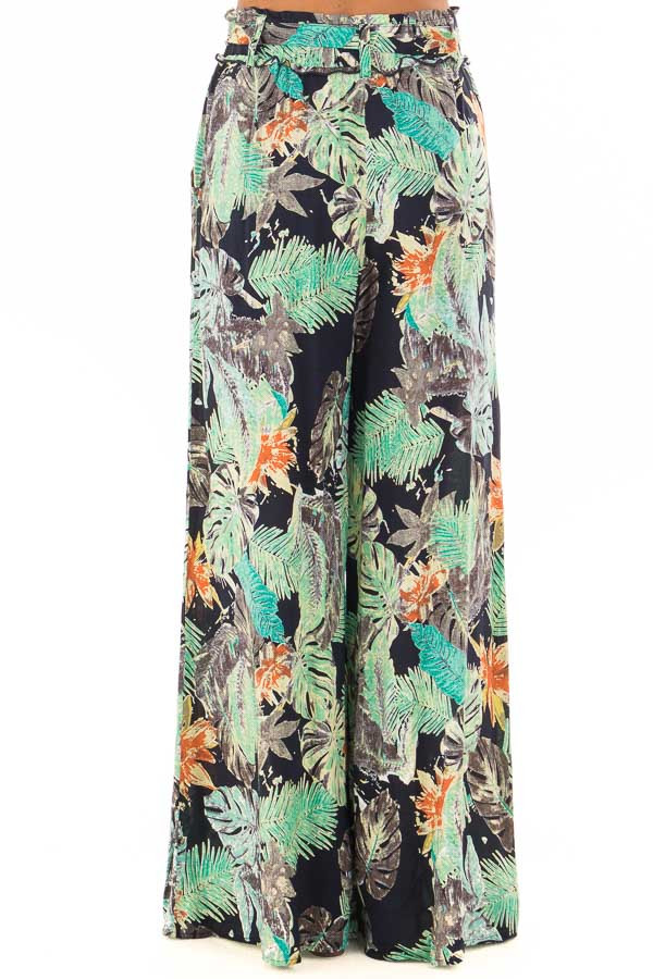 Tropical Navy Pants with Waist Tie Detail back view