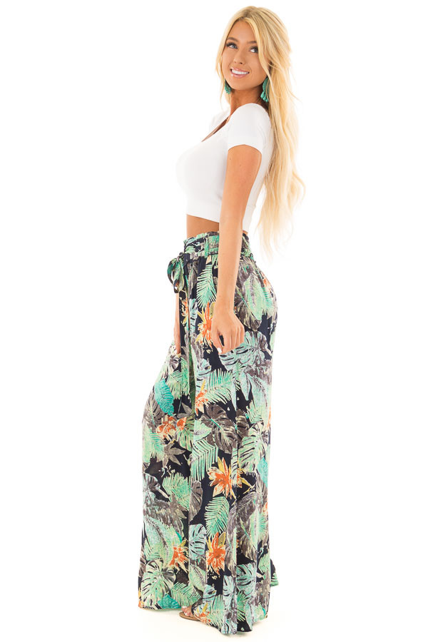 Tropical Navy Pants with Waist Tie Detail side full body
