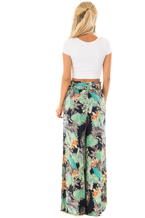 Tropical Navy Pants with Waist Tie Detail back full body