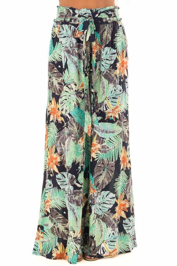 Tropical Navy Pants with Waist Tie Detail front view