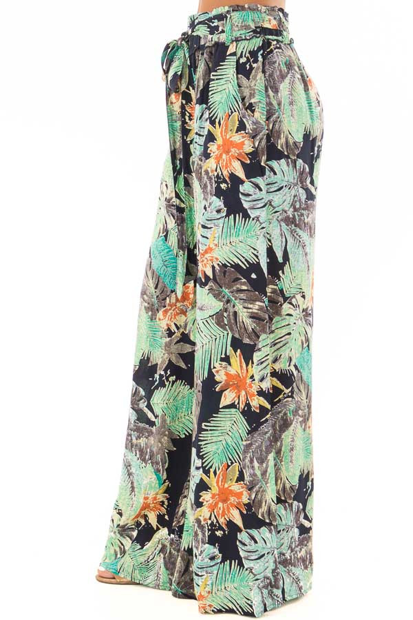 Tropical Navy Pants with Waist Tie Detail side view