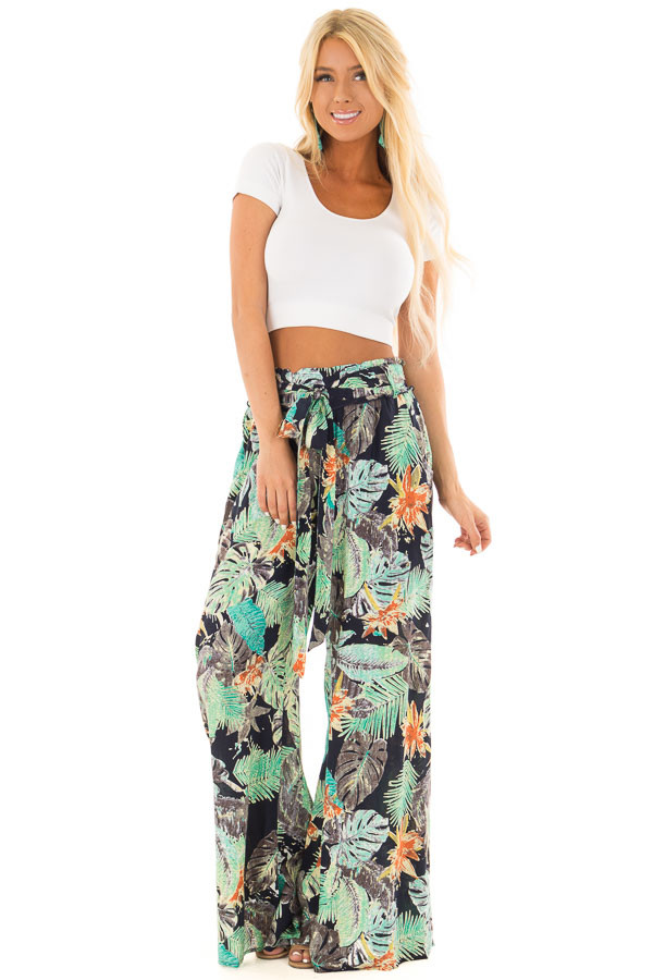 Tropical Navy Pants with Waist Tie Detail front full body