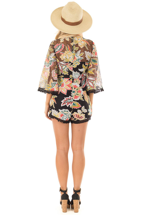 Black Floral Print Romper with Sheer Yoke and Sleeves back full body