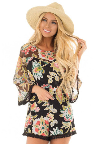 Black Floral Print Romper with Sheer Yoke and Sleeves front close up