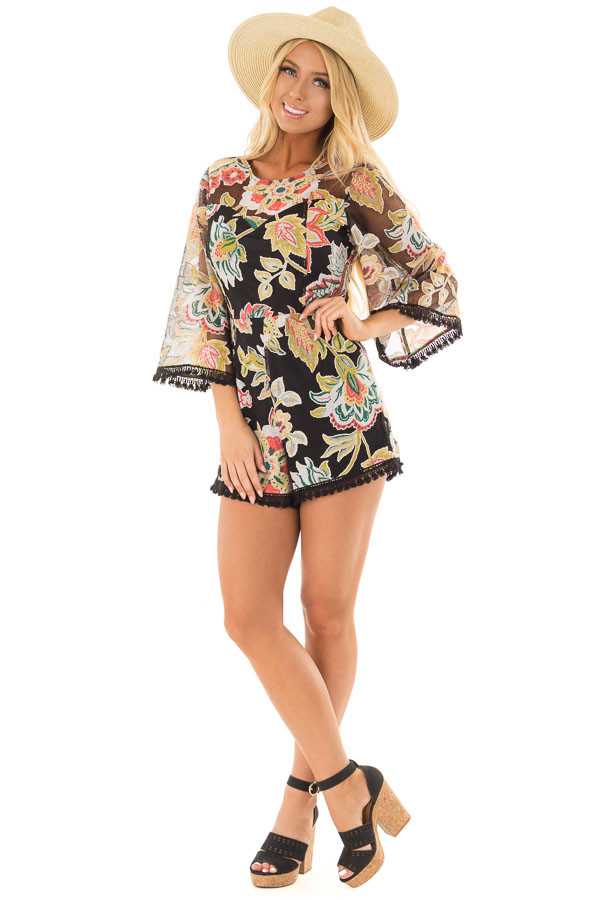 Black Floral Print Romper with Sheer Yoke and Sleeves front full body