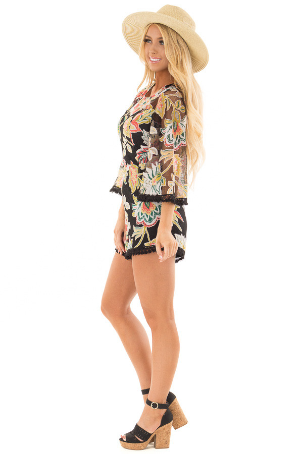 Black Floral Print Romper with Sheer Yoke and Sleeves side full body