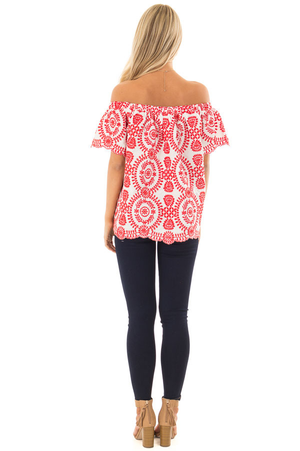 White and Cherry Red Embroidered Off the Shoulder Top back full body