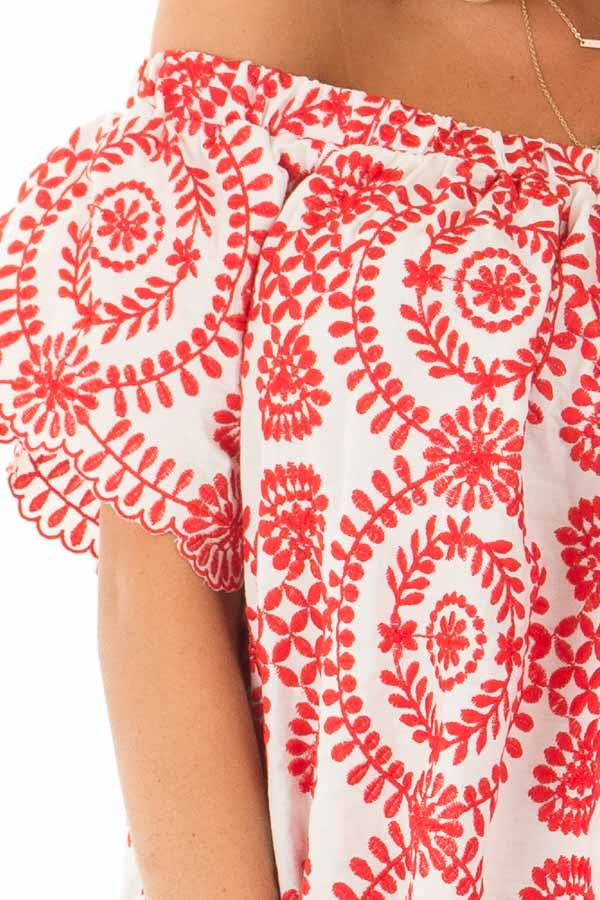 White and Cherry Red Embroidered Off the Shoulder Top detail