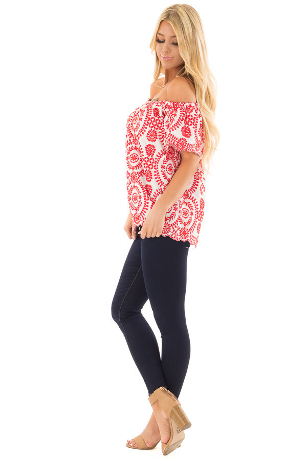 White and Cherry Red Embroidered Off the Shoulder Top side full body